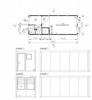 Containertypen - Typ E - Bürocontainer mit Toalete und Dusche 2